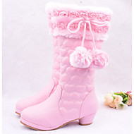 Girls' Shoes PU Fall Winter Snow Boots Boots For Casual Blushing Pink Red