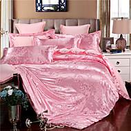 cheap Floral Duvet Covers-Duvet Cover Sets Floral 4 Piece Faux Silk Jacquard Faux Silk 4pcs (1 Duvet Cover, 1 Flat Sheet, 2 Shams)