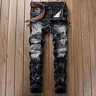 Herrer Simple Mikroelastisk Jeans Chinos Jeans Chinos Bukser,Alm. taljede Ensfarvet