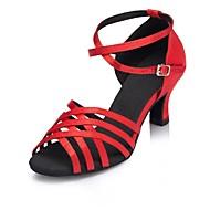 baratos Sapatilhas de Dança-Mulheres Sapatos de Dança Latina Seda Cruzado Salto Cubano Personalizável Sapatos de Dança Preto / Roxo Escuro / Vermelho