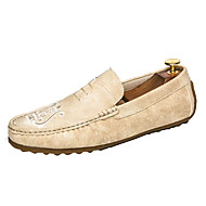 cheap Men's Slip-ons & Loafers-Men's Shoes Rubber Fall Moccasin Loafers & Slip-Ons Black / Beige / Khaki