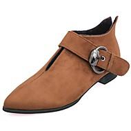 お買い得  レディースブーツ-女性用 靴 ラバー 秋 コンフォートシューズ ブーツ ローヒール ポインテッドトゥ のために アウトドア ブラック ライトブラウン ダークブラウン