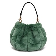 Women Bags Fur Shoulder Bag Zipper for Casual Outdoor All Seasons Military Green Dark Blue Gray Purple Sky Blue