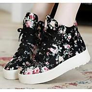 Mulheres Sapatos Malha Respirável Couro Ecológico Primavera Outono Conforto Tênis Salto Robusto Botas Curtas / Ankle para Casual Branco