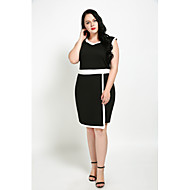 女性用 プラスサイズ シフト シース ブラックとホワイト ドレス - スリット, カラーブロック パッチワーク