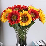 1 Gren Polyester Solsikker Bordblomst Kunstige blomster