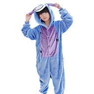 Kigurumi Pyjamas Æsel Heldragtskostumer Pyjamas Kostume Flannelstof Blå Cosplay Til Barn Nattøj Med Dyr Tegneserie Halloween Festival /