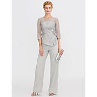 Χαμηλού Κόστους -Παντελόνια Illusion Seckline Μακρύ Σιφόν Glitter Lace Φόρεμα Μητέρας της Νύφης με Πούλιες Δαντέλα με LAN TING BRIDE®