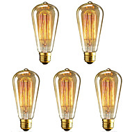 5pcs st64 40w vintage edison light e27 dimmable filamento lâmpadas incandescentes ac220-240v