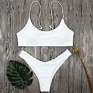 Dames Bandje Wit Zwart Bandeau String Bikini Zwemkleding - Effen S M L Wit / Lage Taille / Zomer / Sexy
