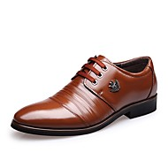 Men's Shoes Leather Spring Fall Formal Shoes Oxfords Lace-up For Casual Office & Career Dark Brown Light Brown Black