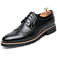 cheap Men's Leather Shoes-Men's Shoes Leather Fall Comfort Oxfords Black / Brown