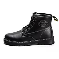 Herre sko PU Høst Vinter Kampstøvler Komfort Støvler Støvletter Snøring Til Avslappet Svart Gul Brun
