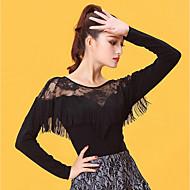 cheap -Latin Dance Women's Performance Ice Silk Lace Tassel Long Sleeves Top