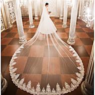 Uma Camada Véus de Noiva Véu Catedral Com Apliques Renda Tule