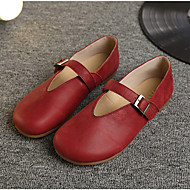 Women's Shoes Nappa Leather Spring Fall Mary Jane Flats For Casual Green Red Coffee Yellow Gray