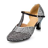 billige Sko til latindans-Dame Latin Silke Sandaler Opptreden Spenne Kubansk hæl Svart og Sølv 5,5 cm 6 cm 7 cm Kan spesialtilpasses