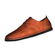 Masculino sapatos Couro Ecológico Primavera Outono Conforto Oxfords Cadarço Para Casual Preto Cinzento Marron