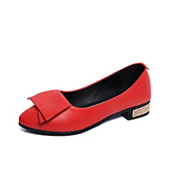 Women's Shoes PU Spring Summer Comfort Loafers & Slip-Ons Low Heel Pointed Toe For Casual Dress White Black Red