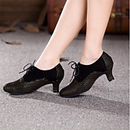 billige Moderne sko-Dame Moderne Semsket fuskelær Høye hæler Profesjonell Tvinning Kubansk hæl Fuksia Svart og Gull Svart og Sølv Blå Svart/Rød