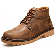 Men's Shoes Nappa Leather Spring Fall Comfort Boots For Casual Black Dark Blue Brown