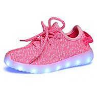 tanie Obuwie dziewczęce-Dla dziewczynek Buty Oddychająca Mesh Wiosna Jesień Świecące buty Zabawne Comfort Oksfordki LED Szurowane na Casual Na wolnym powietrzu