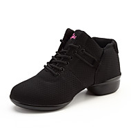 "Women's Dance Sneakers Tulle Flat Practice Sided Hollow Out Flat Heel White Black Red 1"" - 1 3/4"""