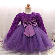 Baby Mädchen Party / Geburtstag Volltonfarbe Langarm Standard Baumwolle / Polyester Kleid Rosa