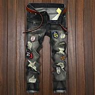 Homens Punk & Góticas Algodão Chinos Jeans Calças - Sólido rasgado
