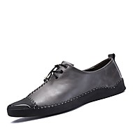 Men's Shoes Real Leather Fall Winter Driving Shoes Comfort Sneakers Lace-up For Wedding Casual Black/Red Gray Black