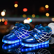 cheap Boys' Shoes-Boys' Shoes Synthetic Winter Fluff Lining Light Up Shoes Comfort Sneakers Animal Print LED Hook & Loop for Casual Outdoor Blue