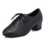 baratos Sapatilhas de Dança-Mulheres Sapatos de Dança Latina Couro Sintético Cruzado Salto Robusto Personalizável Sapatos de Dança Preto / Espetáculo