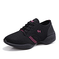 "Women's Dance Sneakers Tulle Sneaker Practice Splicing Flat Heel White Black Red 1"" - 1 3/4"""