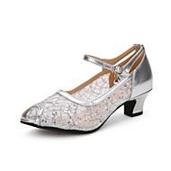 baratos Sapatilhas de Dança-Mulheres Sapatos de Dança Latina Renda / Paetês / Tule Salto Gliter com Brilho / Presilha Salto Cubano Sapatos de Dança Dourado / Preto /