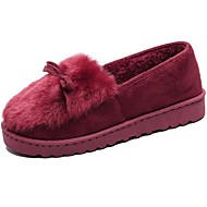 Women's Shoes Cashmere Winter Comfort Loafers & Slip-Ons Flat Heel Round Toe Bowknot For Casual Burgundy Gray Black