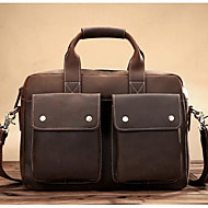 Women Bags Cowhide Briefcase Zipper for Casual All Seasons Coffee