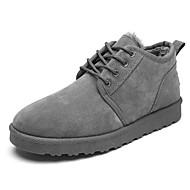 メンズ 靴 PVCレザー 秋 冬 ファーライニング ブーツ ブーティー/アンクルブーツ 編み上げ 用途 ブラック グレー イエロー