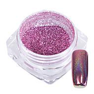 1g / láhev sladký růžový dekorace nehty umění duha třpyt prášek zrcadlo zářící efekt