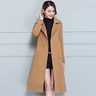 Krave Dame Normal Ensfarvet Vinter Efterår Gade I-byen-tøj Frakke Kashmir Polyester
