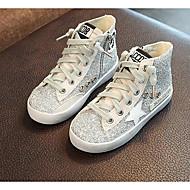 Para Meninas sapatos Pele Real Outono Inverno Botas da Moda Botas Para Casual Preto Prata