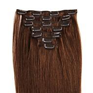 14-24 tommers klips i menneskelige hårforlengelser 100% ekte menneskehår rett forskjellige farger for dameskjønn 70g / 100g / pakke