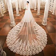 One-tier الحجاب الزفاف Cathedral Veils مع زينة دانتيل تول