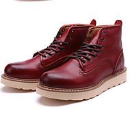 お買い得  紳士靴-男性用 靴 レザー 秋 / 冬 ブーティー / コンバットブーツ ブーツ ブーティー/アンクルブーツ ブラック / Brown / レッド