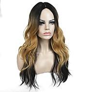 Vrouw Synthetische pruiken Lang Natuurlijk golvend Gekruld Medium Brown / Strawberry Blonde Ombre-haar Natuurlijke pruik Celebrity Wig