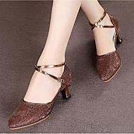 billige Moderne sko-Dame Moderne sko Paljett Sandaler Spenne Tykk hæl Dansesko Sølv / Brun / Rød