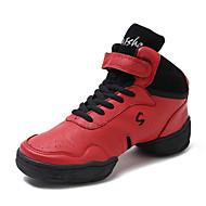 baratos Sapatilhas de Dança-Homens Tênis de Dança Couro Meia Solas Salto Personalizado Personalizável Sapatos de Dança Vermelho