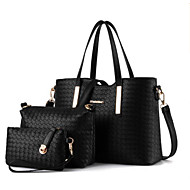 cheap Bag Sets-Women's Bags PU(Polyurethane) Bag Set 3 Pcs Purse Set Zipper Black / Silver / Wine
