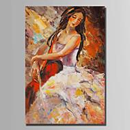 billiga Människomålningar-Hang målad oljemålning HANDMÅLAD - Människor Abstrakt Duk / Sträckt kanfas