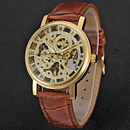 WINNER Homens Relógio de Moda Relógio Elegante Relógio de Pulso Mecânico - de dar corda manualmente Gravação Oca Couro Banda Luxo Vintage