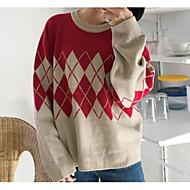 Damer Dagligdagstøj Normal Pullover Farveblok,Rund hals Langærmet Nylon Vinter Tyk Elastisk